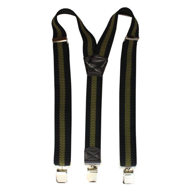 2Store24 - Bretelles pour Femmes   Hommes avec 3 pinces solides en  noir olive rayé 1df5799c452