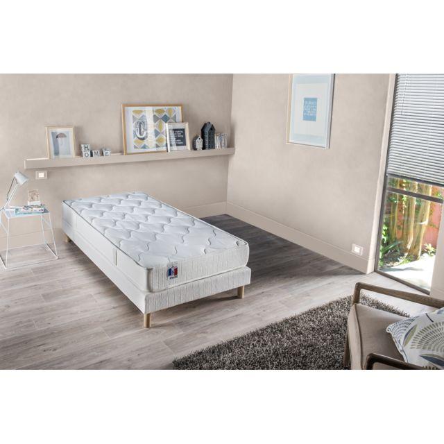 lovea ensemble matelas mousse ferme sommier 90x190 vega blanc pas cher achat vente. Black Bedroom Furniture Sets. Home Design Ideas