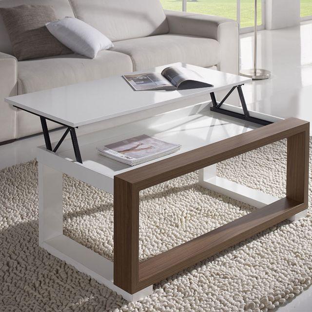 Nouvomeuble Table salon relevable blanche et couleur noyer Correze