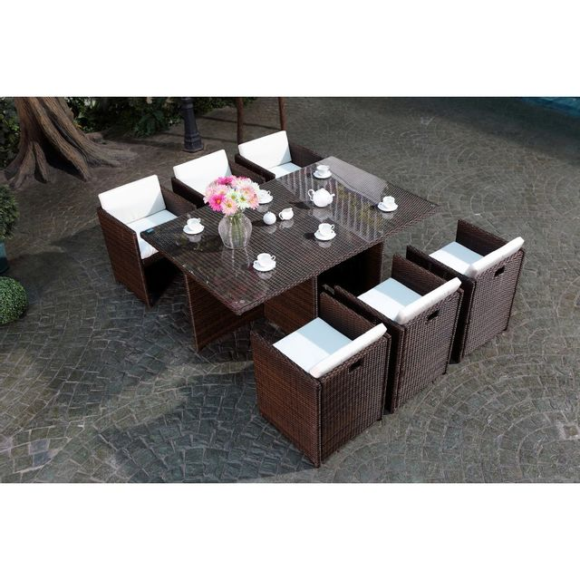 Rocambolesk - Magnifique Salon de jardin Florida 6 Marron/Blanc ...