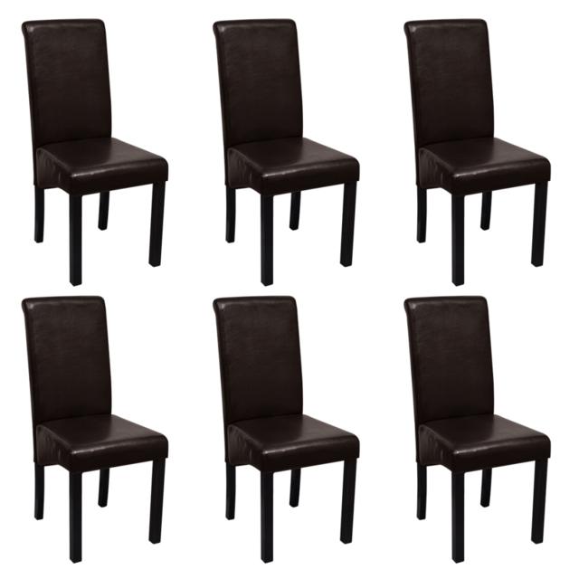 Vidaxl Set de 6 chaises salle à manger marron en cuir artificiel