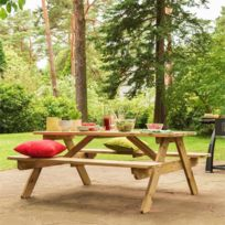 Table banc jardin bois - catalogue 2019 - [RueDuCommerce - Carrefour]