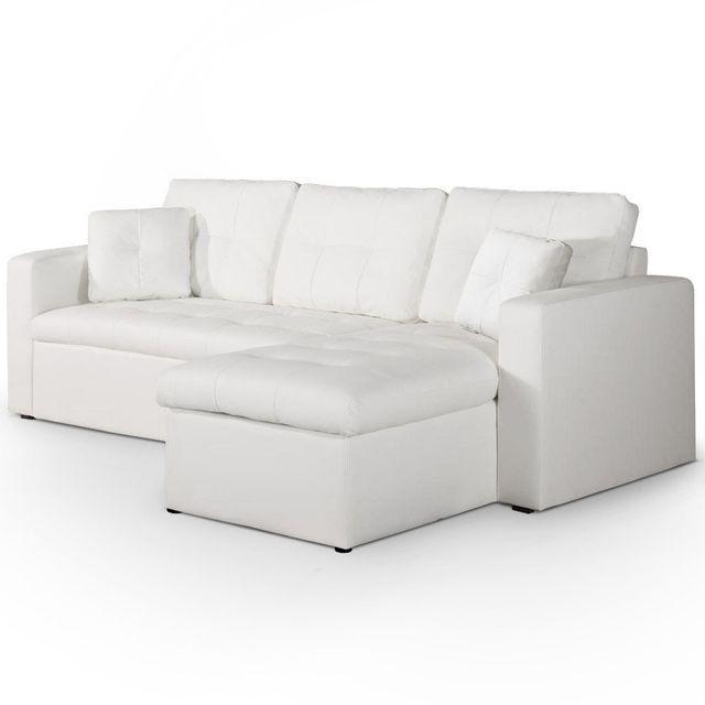 Canapé d'angle droit convertible Blanc