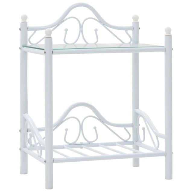 Icaverne - Chevets selection Table de chevet 2 pcs Acier et verre trempé 45x30,5x60 cm Blanc