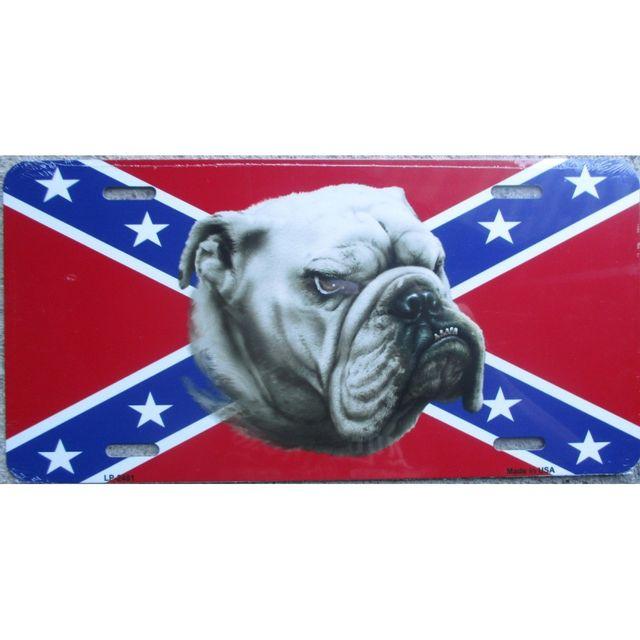 Universel Plaque d immatriculation drapeau rebel et chien bulldog usa