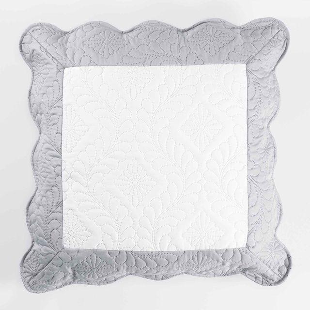 Ligne Decor Cdaffaires So housse de coussin +encart 60 x 60 cm microfibre bicolore andrea Blanc/Gris