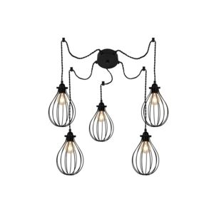 millumine lustre suspension 5 ampoules foison en m tal noir pas cher achat vente. Black Bedroom Furniture Sets. Home Design Ideas