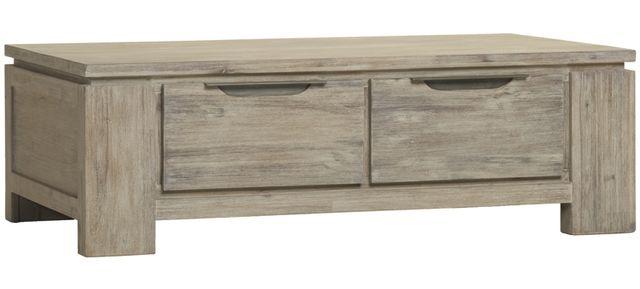 Comforium Table basse 140 cm avec 2 tiroirs en bois massif coloris gris