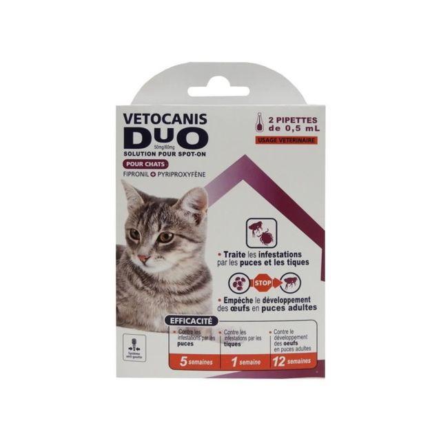 Vetocanis Pipettes Anti-puces et anti-tiques Duo - 2 pipettes pour 5 semaines de protection - Pour chat