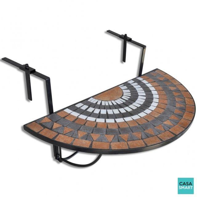 CASASMART - Table suspendue pour balcon en terre cuite mosaïque ...