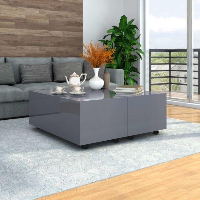 Vidaxl Table Basse Gris Brillant Table d'Appoint Salon Canapé Rangement Maison