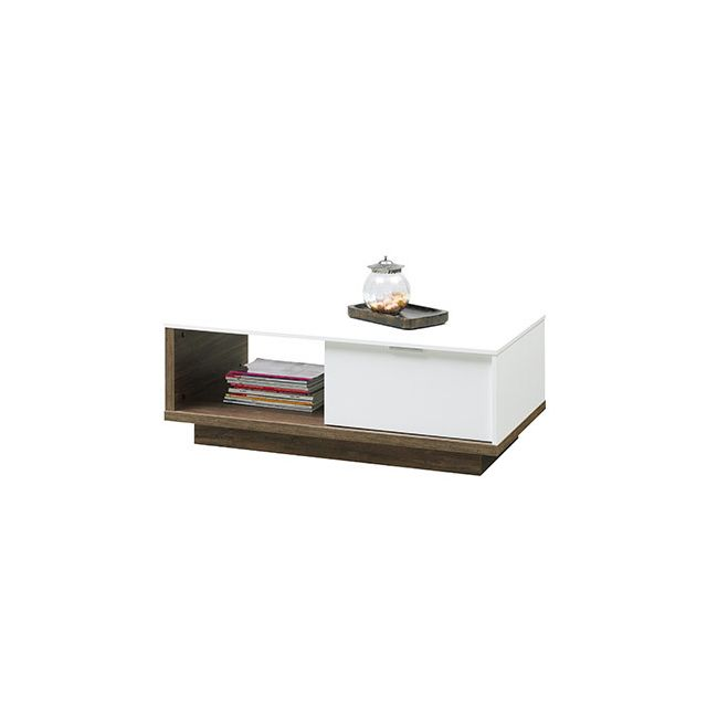 Table basse 106x39x59cm blanc mat et bois naturel sebpeche31 for Table blanc mat