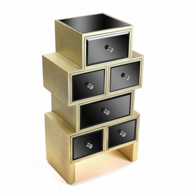 Inside 75 Commode Varese en verre noir 6 tiroirs design doré