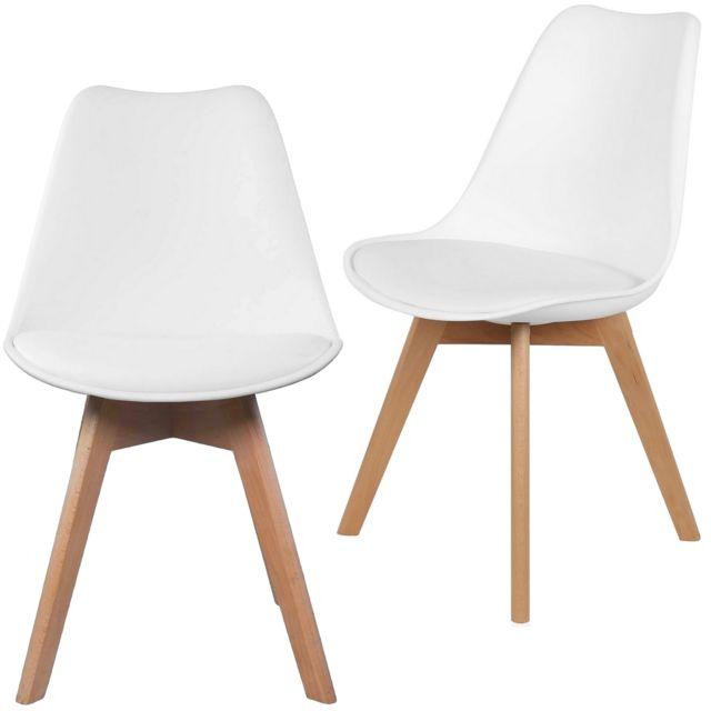 promobo ensemble lot de 2 chaise scandinave coque polypropylne avec coussin blanc - Chaises Scandinave
