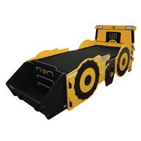 Kidsaw - Grand Lit enfant tracteur 90 x 190 cm avec coffre à jouets intégré Jcb