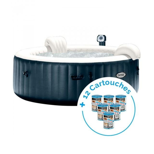 intex spa gonflable purespa plus bulles 6 personnes 12 cartouches pure spa pas cher achat. Black Bedroom Furniture Sets. Home Design Ideas