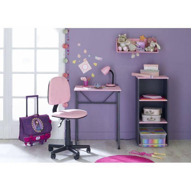 CARREFOUR HOME Table Bureau - Gris et rose - Métal, MDF et PVC