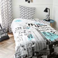 housse couette new york achat housse couette new york pas cher rue du commerce. Black Bedroom Furniture Sets. Home Design Ideas