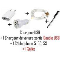 Cabling - Pack comprenant : Cable Usb Adaptateur, Chargeur secteur et Allume cigare voiture double Usb pour Iphone 5 + 1 Stylet