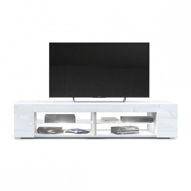 Mpc Meuble Tv blanc mat Façades en blanc laquées led Blanc