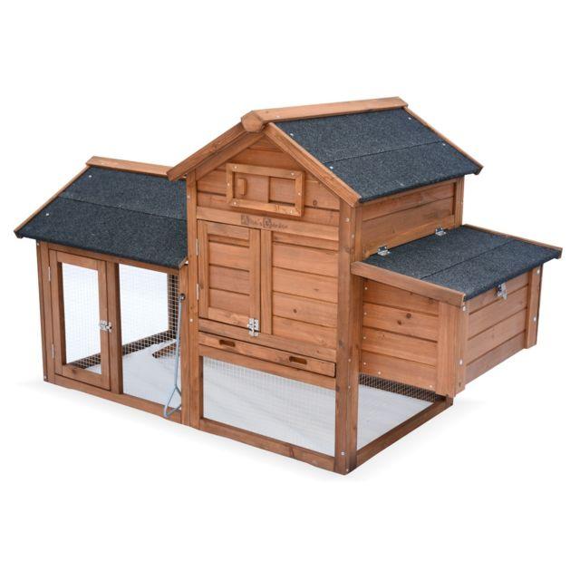 ALICE'S GARDEN Poulailler en bois GALINETTE, 3 poules, cage à poule avec enclos
