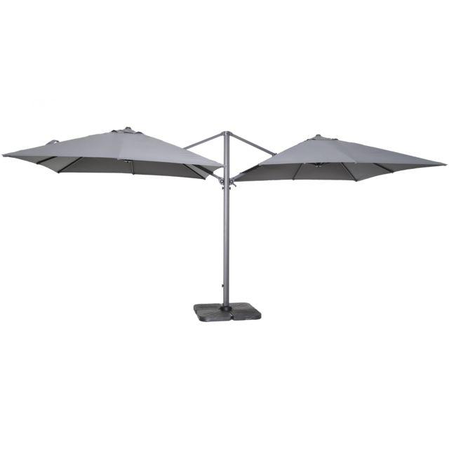 oviala double parasol d port carr en aluminium pas cher achat vente parasols rueducommerce. Black Bedroom Furniture Sets. Home Design Ideas