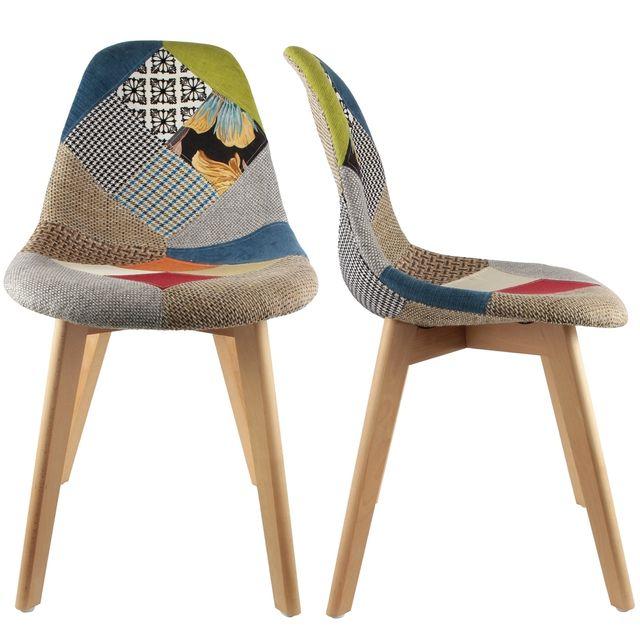 the concept factory chaise stokholm patchwork pieds bois. Black Bedroom Furniture Sets. Home Design Ideas