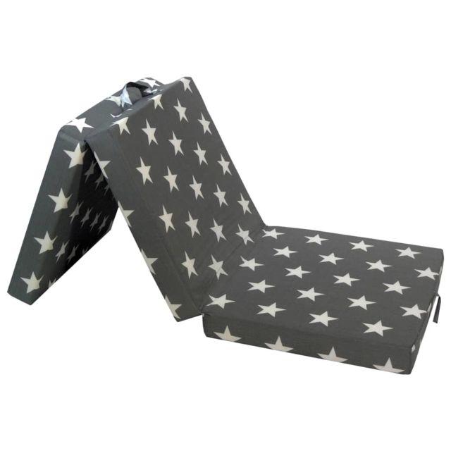Esthetique Lits & accessoires ligne Sofia Matelas en mousse pliable en 3 sections 190 x 70 x 9 cm Gris