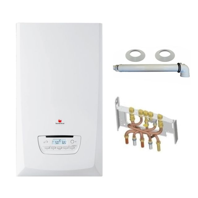 saunier duval chaudi re gaz condensation themaplus condens 25 kw compl te ventouse douilles. Black Bedroom Furniture Sets. Home Design Ideas