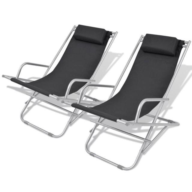 Vidaxl Chaise inclinable de terrasse 2 pcs Noir Acier 69 x 61 x 94 cm | Noir