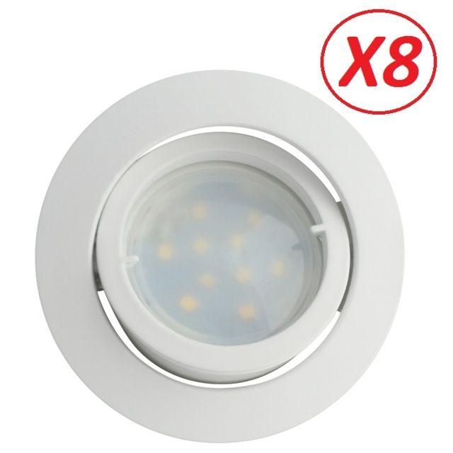 Lampesecoenergie Lot de 8 Spot Led Encastrable Complete Blanc Orientable lumiere Blanc Neutre eq. 50W ref.888