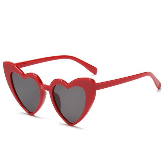 Wewoo - Lunettes de soleil rouge pour femmes Lunettes de polarisées en forme  de coeur Uv400 4170b3c91736