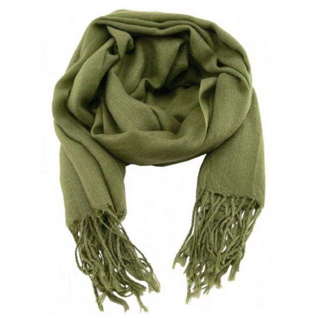 a6e0eef9de73 Accessoires mode pashmina étole écharpe vert olive - pas cher Achat   Vente  Echarpes, foulards - RueDuCommerce