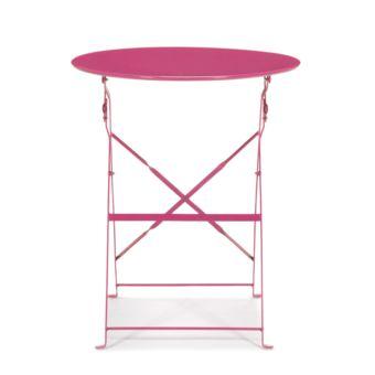 Alin a pims table de jardin pliante rose en acier 2 for Table pliante alinea