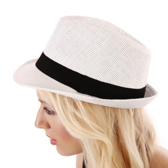 c4ab66e9a882 Lamodeuse - Chapeau en paille blanc avec ruban noir - pas cher Achat ...