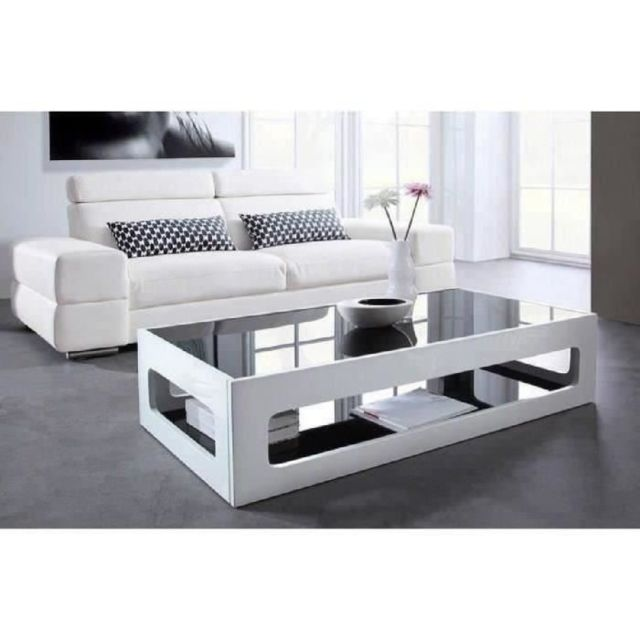 Table Basse Angel Table Basse Rectangulaire Style Contemporain Laquee Blanc Brillant Avec Plateaux En Verre Trempe Noir L 120 X L 60 Cm