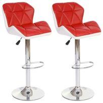 Decoshop26 - Lot de 2 tabourets de bar avec repose-pieds similicuir rouge et blanc Tab04024