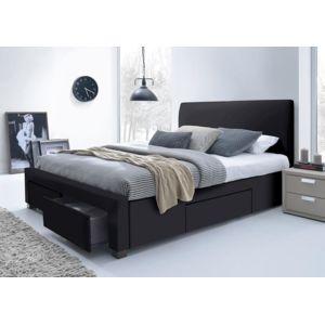 lit simili cuir noir avec t te de lit seattle 160 x 200. Black Bedroom Furniture Sets. Home Design Ideas