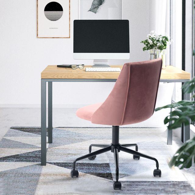 Marque Generique Chaise de bureau rose velours métal