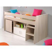 - Lit combiné bois clair 90x200 avec bureau et rangements Maths