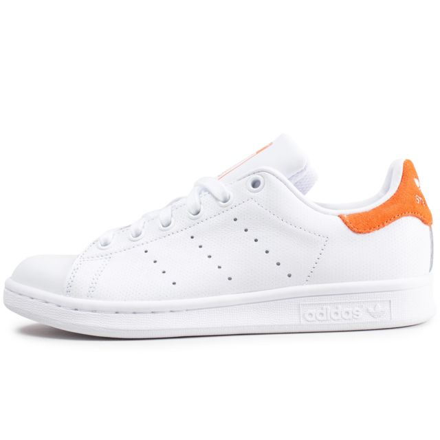 Adidas originals - Stan Smith Blanche Et Suede Orange - pas ...
