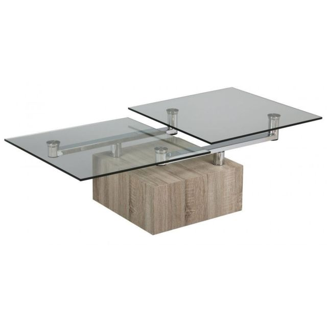 Inside 75 Table basse Tree en verre transparent plateaux pivotants