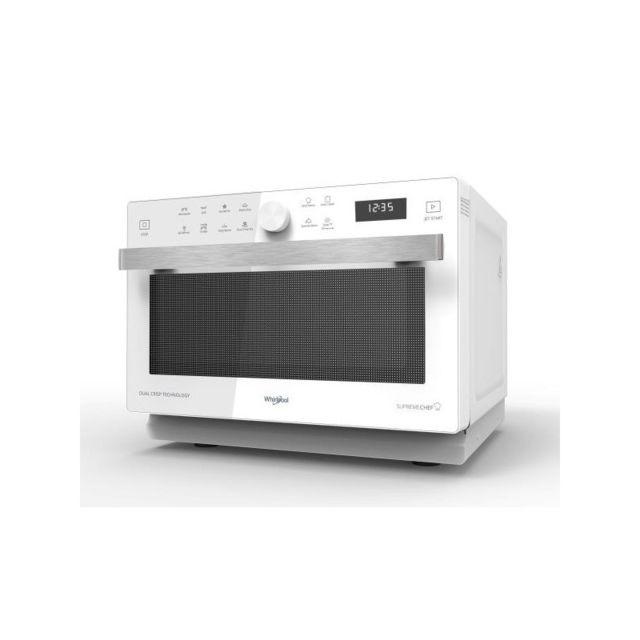 Whirlpool Micro-ondes 900w + grill 1200w, 33L, Crisp, Chaleur Pulsée, 40 recettes automatiques, cavité Inox