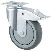 Tente - Roulette Pivotante S17 - Fixation A Platine - Type: Piv.ac blocage - Ø roue mm:75 - Haut. mm:100 - Charge kg:75