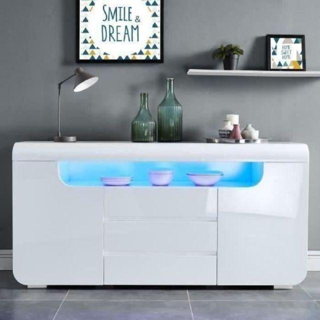 BUFFET - BAHUT - ENFILADE MIAMI Buffet contemporain avec LED laqué blanc brillant - L 150 cm