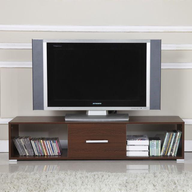 Homcom Meuble Tv Bas Table Armoire Basse Avec Tiroir Meuble De