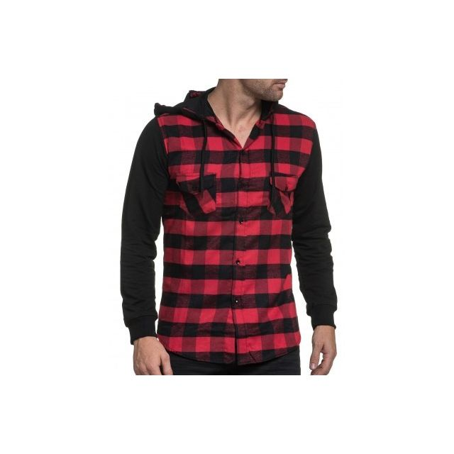 7a4d0261f Celebry tees - Chemise sweat homme à carreaux rouge et noir à ...