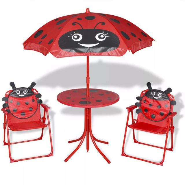 VIDAXL Jeu de bistro avec parasol pour enfants Rouge | Rouge
