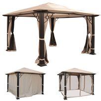 Mendler - Pergola Mira, pavillon de jardin, cadre stable à 12cm avec paroi et moustiquaire ~ 3,5x3,5m