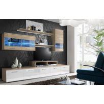 Asm-mdlt - Ensemble meuble Tv Loga blanc et en chêne sonoma de haute brillance avec Led